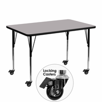 Flash Furniture Mobile 30''W x 48''L Rectangular Activity Table with Grey Thermal Fused Laminate Top and Standard Height Adjustable Legs