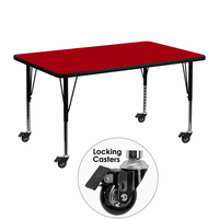 Flash Furniture Mobile 30''W x 48''L Rectangular Activity Table with Red Thermal Fused Laminate Top and Height Adjustable Preschool Legs