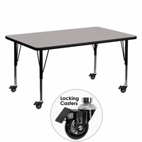 Flash Furniture Mobile 30''W x 60''L Rectangular Activity Table with 1.25'' Thick High Pressure Grey Laminate Top and Height Adjustable Preschool Legs