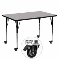Flash Furniture Mobile 30''W x 60''L Rectangular Activity Table with 1.25'' Thick High Pressure Grey Laminate Top and Standard Height Adjustable Legs