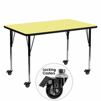 Flash Furniture Mobile 30''W x 60''L Rectangular Activity Table with Yellow Thermal Fused Laminate Top and Standard Height Adjustable Legs