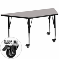 Flash Furniture Mobile 30''W x 60''L Trapezoid Activity Table with 1.25'' Thick High Pressure Grey Laminate Top and Height Adjustable Preschool Legs