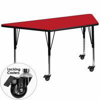Flash Furniture Mobile 30''W x 60''L Trapezoid Activity Table with 1.25'' Thick High Pressure Red Laminate Top and Height Adjustable Preschool Legs