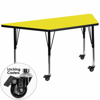 Flash Furniture Mobile 30''W x 60''L Trapezoid Activity Table with 1.25'' Thick High Pressure Yellow Laminate Top and Height Adjustable Preschool Legs