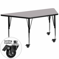 Flash Furniture Mobile 30''W x 60''L Trapezoid Activity Table with Grey Thermal Fused Laminate Top and Height Adjustable Preschool Legs