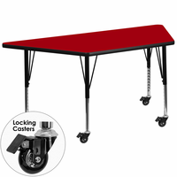 Flash Furniture Mobile 30''W x 60''L Trapezoid Activity Table with Red Thermal Fused Laminate Top and Height Adjustable Preschool Legs