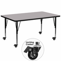 Flash Furniture Mobile 30''W x 72''L Rectangular Activity Table with Grey Thermal Fused Laminate Top and Height Adjustable Preschool Legs