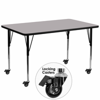Flash Furniture Mobile 30''W x 72''L Rectangular Activity Table with Grey Thermal Fused Laminate Top and Standard Height Adjustable Legs