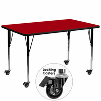 Flash Furniture Mobile 30''W x 72''L Rectangular Activity Table with Red Thermal Fused Laminate Top and Standard Height Adjustable Legs