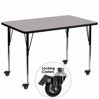 Flash Furniture Mobile 36''W x 72''L Rectangular Activity Table with 1.25'' Thick High Pressure Grey Laminate Top and Standard Height Adjustable Legs