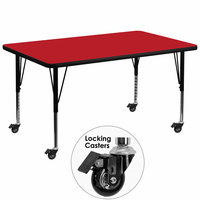 Flash Furniture Mobile 36''W x 72''L Rectangular Activity Table with 1.25'' Thick High Pressure Red Laminate Top and Height Adjustable Preschool Legs