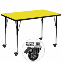 Flash Furniture Mobile 36''W x 72''L Rectangular Activity Table with 1.25'' Thick High Pressure Yellow Laminate Top and Standard Height Adjustable Legs