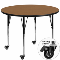 Flash Furniture Mobile 42'' Round Activity Table with Oak Thermal Fused Laminate Top and Standard Height Adjustable Legs