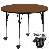 Flash Furniture Mobile 48'' Round Activity Table with 1.25'' Thick High Pressure Oak Laminate Top and Standard Height Adjustable Legs