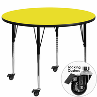 Flash Furniture Mobile 48'' Round Activity Table with 1.25'' Thick High Pressure Yellow Laminate Top and Standard Height Adjustable Legs