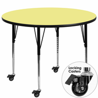 Flash Furniture Mobile 48'' Round Activity Table with Yellow Thermal Fused Laminate Top and Standard Height Adjustable Legs