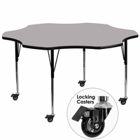 Flash Furniture Mobile 60'' Flower Shaped Activity Table with Grey Thermal Fused Laminate Top and Standard Height Adjustable Legs
