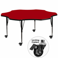 Flash Furniture Mobile 60'' Flower Shaped Activity Table with Red Thermal Fused Laminate Top and Height Adjustable Preschool Legs