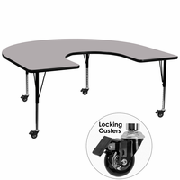 Flash Furniture Mobile 60''W x 66''L Horseshoe Shaped Activity Table with Grey Thermal Fused Laminate Top and Height Adjustable Preschool Legs