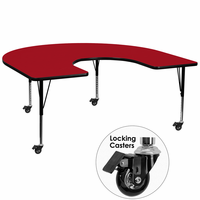 Flash Furniture Mobile 60''W x 66''L Horseshoe Shaped Activity Table with Red Thermal Fused Laminate Top and Height Adjustable Preschool Legs