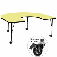Flash Furniture Mobile 60''W x 66''L Horseshoe Shaped Activity Table with Yellow Thermal Fused Laminate Top and Height Adjustable Preschool Legs