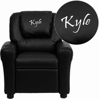 Flash Furniture Personalized Black Leather Kids Recliner with Cup Holder and Headrest