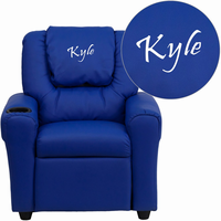 Flash Furniture Personalized Blue Vinyl Kids Recliner with Cup Holder and Headrest