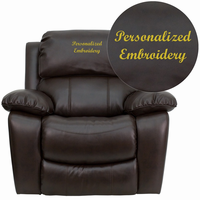 Flash Furniture Personalized Brown Leather Rocker Recliner