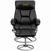 Flash Furniture Personalized Contemporary Black Leather Recliner and Ottoman with Metal Base
