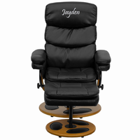 Flash Furniture Personalized Contemporary Black Leather Recliner and Ottoman with Wood Base