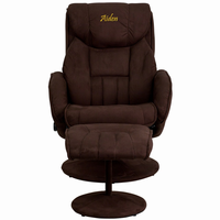 Flash Furniture Personalized Contemporary Brown Microfiber Recliner and Ottoman with Circular Microfiber Wrapped Base