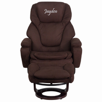 Flash Furniture Personalized Contemporary Brown Microfiber Recliner and Ottoman with Swiveling Mahogany Wood Base