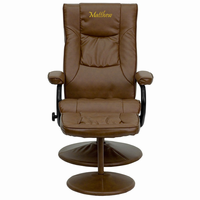 Flash Furniture Personalized Contemporary Palimino Leather Recliner and Ottoman with Leather Wrapped Base