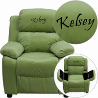 Flash Furniture Personalized Deluxe Padded Avocado Microfiber Kids Recliner with Storage Arms