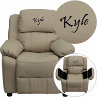 Flash Furniture Personalized Deluxe Padded Beige Vinyl Kids Recliner with Storage Arms