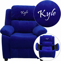Flash Furniture Personalized Deluxe Padded Blue Microfiber Kids Recliner with Storage Arms