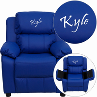 Flash Furniture Personalized Deluxe Padded Blue Vinyl Kids Recliner with Storage Arms