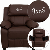 Flash Furniture Personalized Deluxe Padded Brown Leather Kids Recliner with Storage Arms