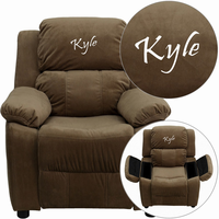 Flash Furniture Personalized Deluxe Padded Brown Microfiber Kids Recliner with Storage Arms