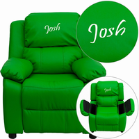 Flash Furniture Personalized Deluxe Padded Green Vinyl Kids Recliner with Storage Arms