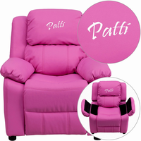 Flash Furniture Personalized Deluxe Padded Hot Pink Vinyl Kids Recliner with Storage Arms