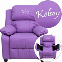 Flash Furniture Personalized Deluxe Padded Lavender Vinyl Kids Recliner with Storage Arms
