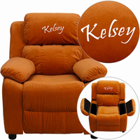 Flash Furniture Personalized Deluxe Padded Orange Microfiber Kids Recliner with Storage Arms