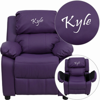 Flash Furniture Personalized Deluxe Padded Purple Vinyl Kids Recliner with Storage Arms