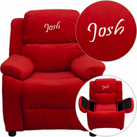 Flash Furniture Personalized Deluxe Padded Red Microfiber Kids Recliner with Storage Arms