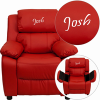 Flash Furniture Personalized Deluxe Padded Red Vinyl Kids Recliner with Storage Arms