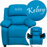 Flash Furniture Personalized Deluxe Padded Turquoise Vinyl Kids Recliner with Storage Arms