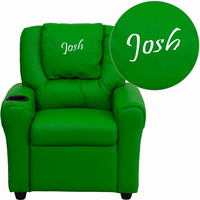 Flash Furniture Personalized Green Vinyl Kids Recliner with Cup Holder and Headrest