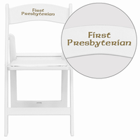Flash Furniture Personalized HERCULES Series 1000 lb. Capacity White Resin Folding Chair with White Vinyl Padded Seat