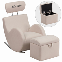 Flash Furniture Personalized HERCULES Series Beige Fabric Rocking Chair with Storage Ottoman
